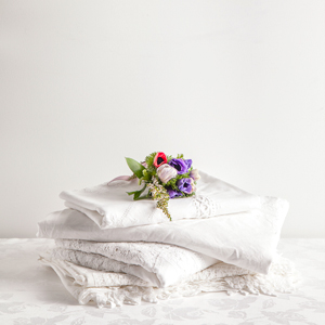 White on White Cotton Tablecloth