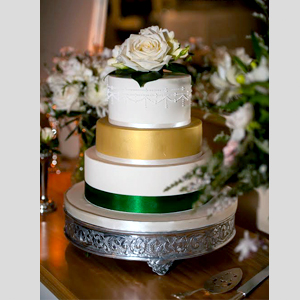 Silver Embossed Wedding Cake Stand