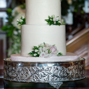 Large Silver Embossed Wedding Cake Stand